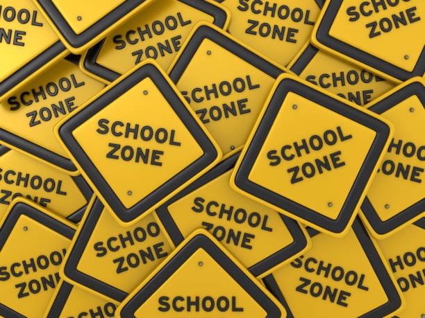 SCHOOL ZONE Straßenschild - 3D Rendering – Foto