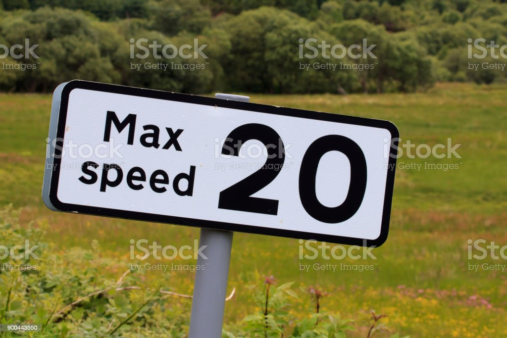 Road sign advising Max speed 20 MPH stock photo
