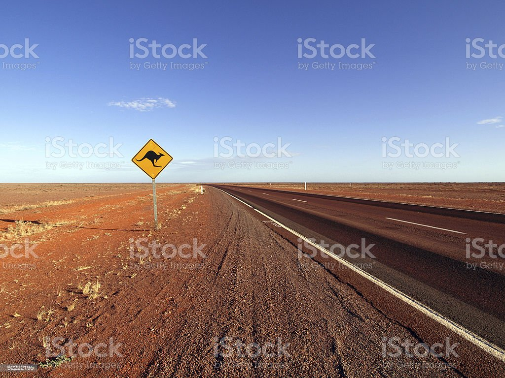 Road sign along the Stuart Highway stock photo
