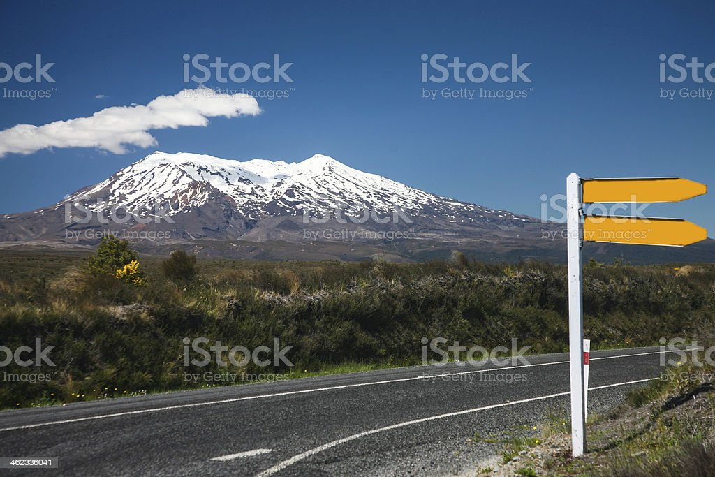 road sign and volcano Ruapehu in NZ stock photo