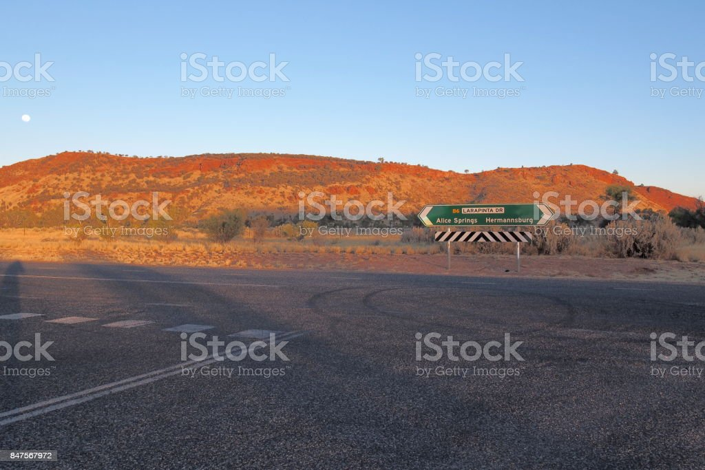Road sign at Larapinta drive, west MacDonnell ranges near Alice Springs stock photo
