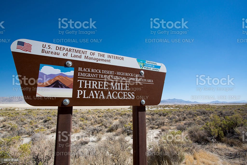 Road sign at the entrance of the Black Rock desert stock photo
