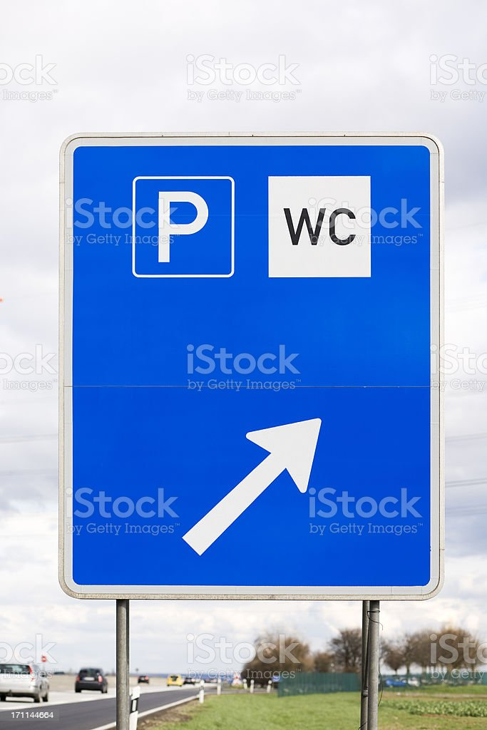 Road sign at the highway - next rest area royalty-free stock photo