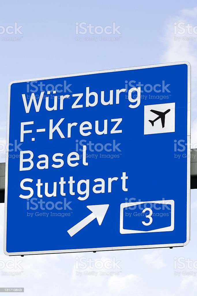 Road sign - Autobahn, german cities stock photo