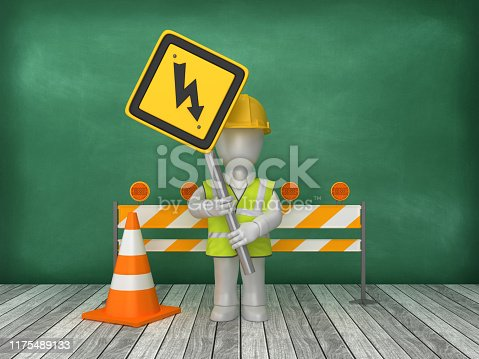 istock HIGH VOLTAGE Road Sign Construction Site on Chalkboard Background - 3D Rendering 1175489133