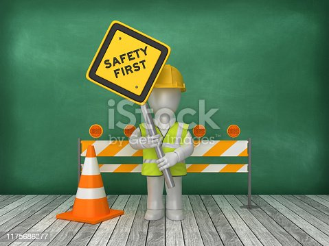 istock SAFETY FIRST Road Sign Construction Site on Chalkboard Background - 3D Rendering 1175686277