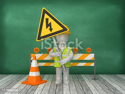 istock HIGH VOLTAGE Road Sign Construction Site on Chalkboard Background - 3D Rendering 1175686399