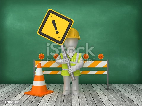 EXCLAMATION POINT Road Sign Construction Site on Chalkboard Background - 3D Rendering