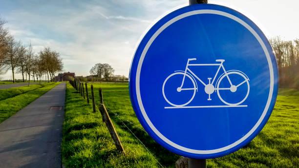 Road sign Cyclist traffic symbol stock photo