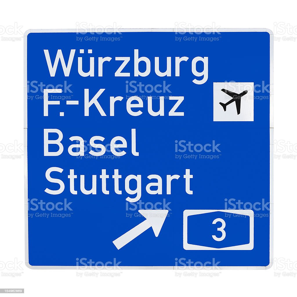 Road sign - directing to Autobahn 3, german cities stock photo