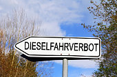 Road sign driving for diesel cars in Germany. Diesel ban symbol