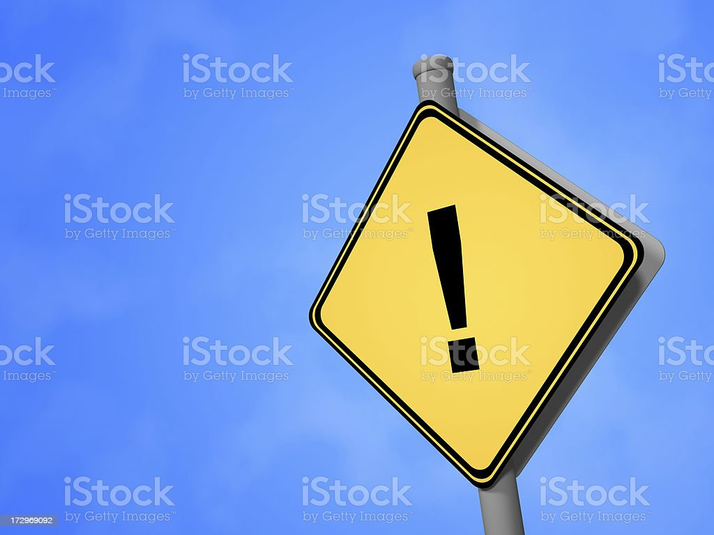 Road Sign - Exclamation Mark stock photo