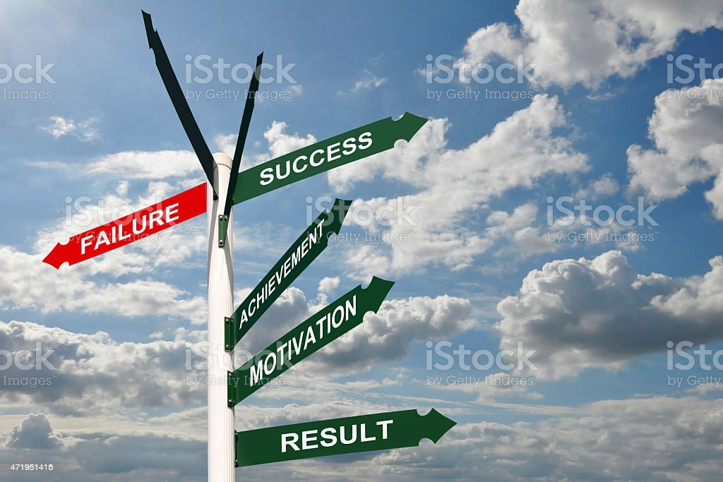 Road sign failure and success, business concept stock photo