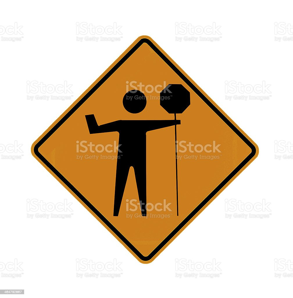 road sign - flagman stock photo