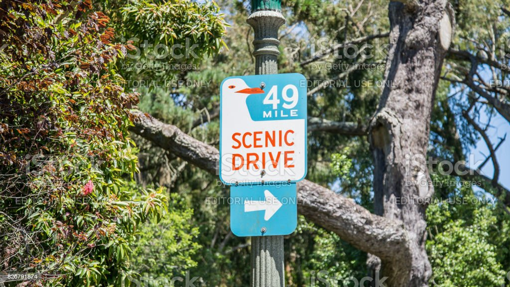Road sign for Scenic Drive County Road hanging on a pole stock photo