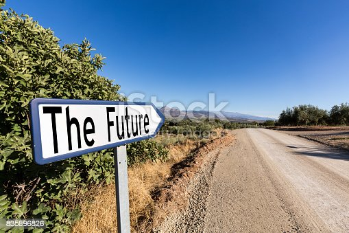 istock Road sign for the first step to the future 835896826