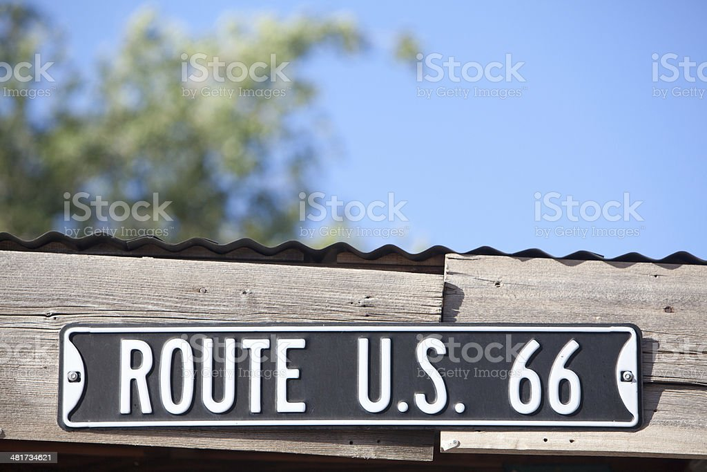 Road sign for U.S. Route 66 stock photo