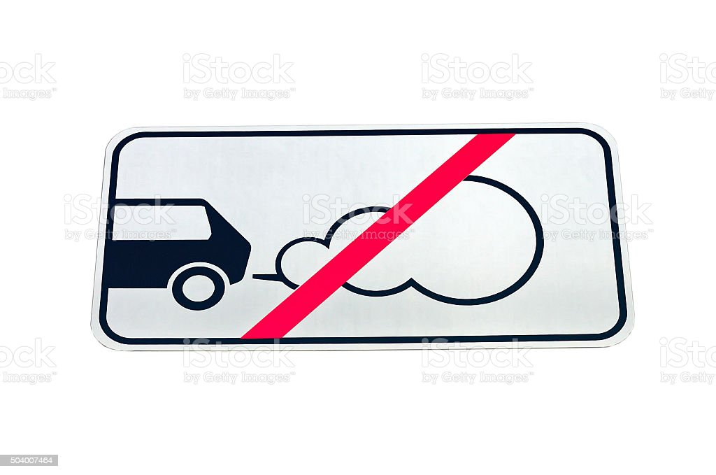 Road sign forbidding parking of cars with the working engine stock photo