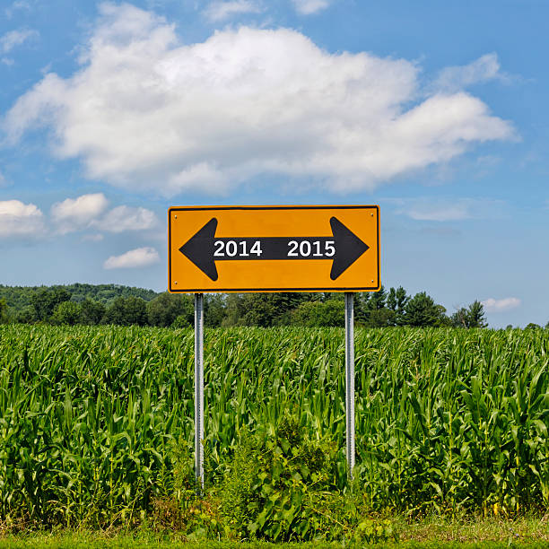 Road sign happy new year 2014 2015 stock photo
