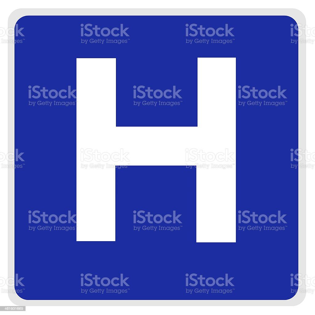 road sign - hospital blue stock photo
