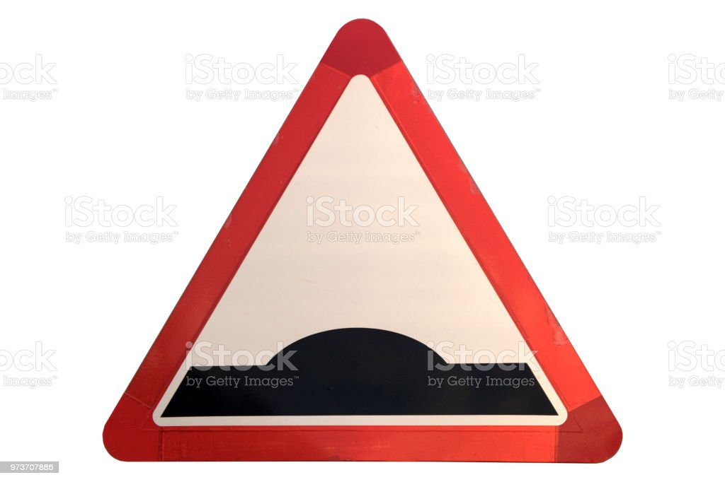 Road sign 'Hump' isolated on white. - Royalty-free Alertness Stock Photo