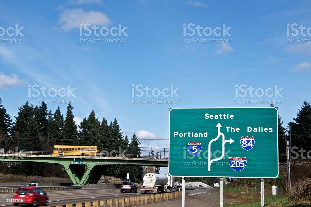 Road Sign I-5 Traffic I-205 I-84 Portland Seattle The Dalles stock photo