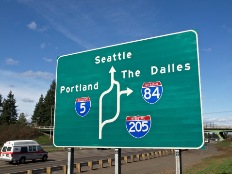 Road Sign I5 Traffic I205 I84 Seattle Portland Oregon