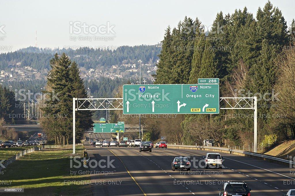Road Sign I-5 Trafic I-205 Portland Oregon City Telephoto shadows stock photo