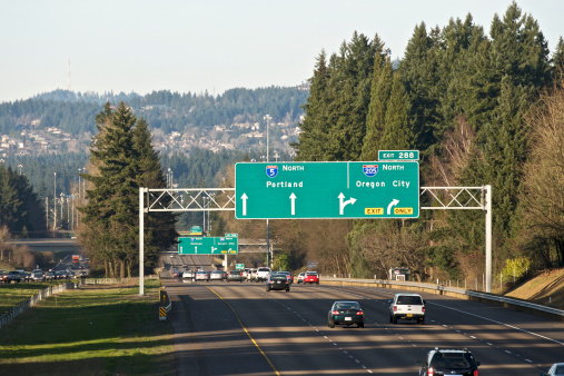 Road Sign I5 Trafic I205 Portland Oregon City Telephoto Shadows