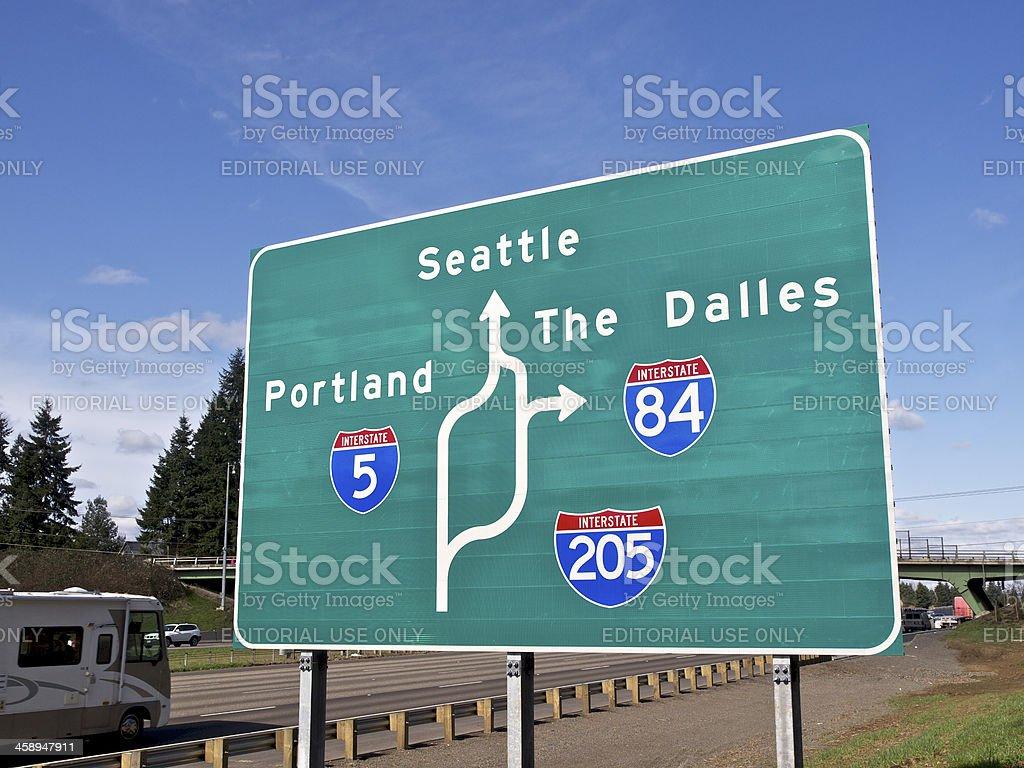 Road Sign I5 Trafic I205 Portland Oregon Seattle The Dalles Stock