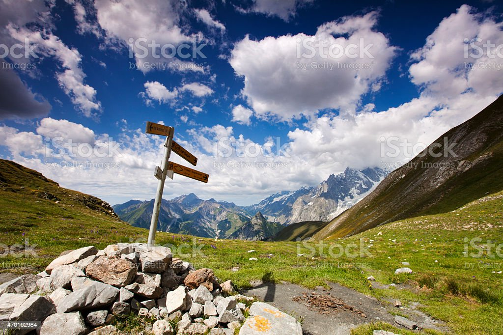 road sign in mountain landscape, Tour du Mont Blanc, Italy stock photo