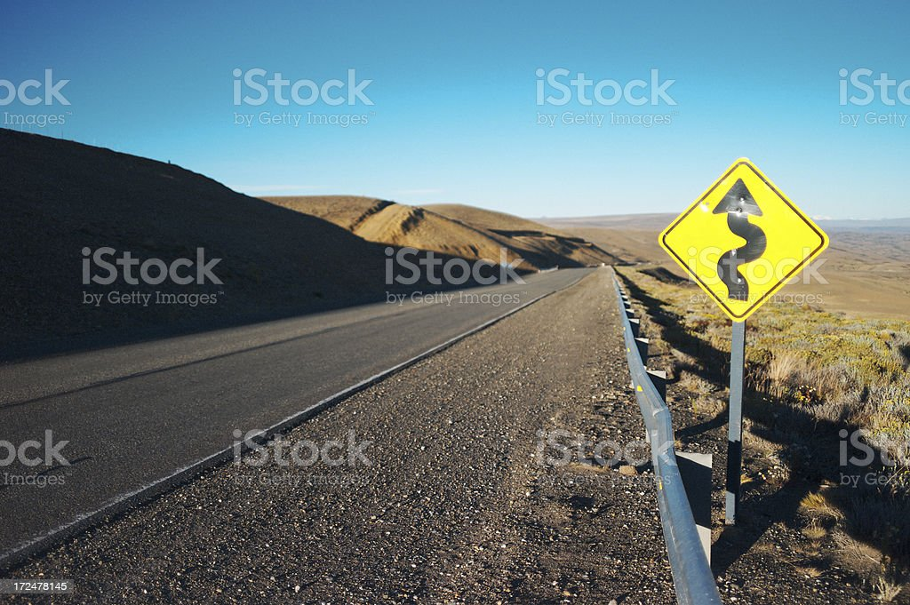 Road Sign in Patagonia stock photo