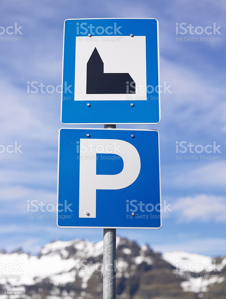 Road sign in rural landscape stock photo