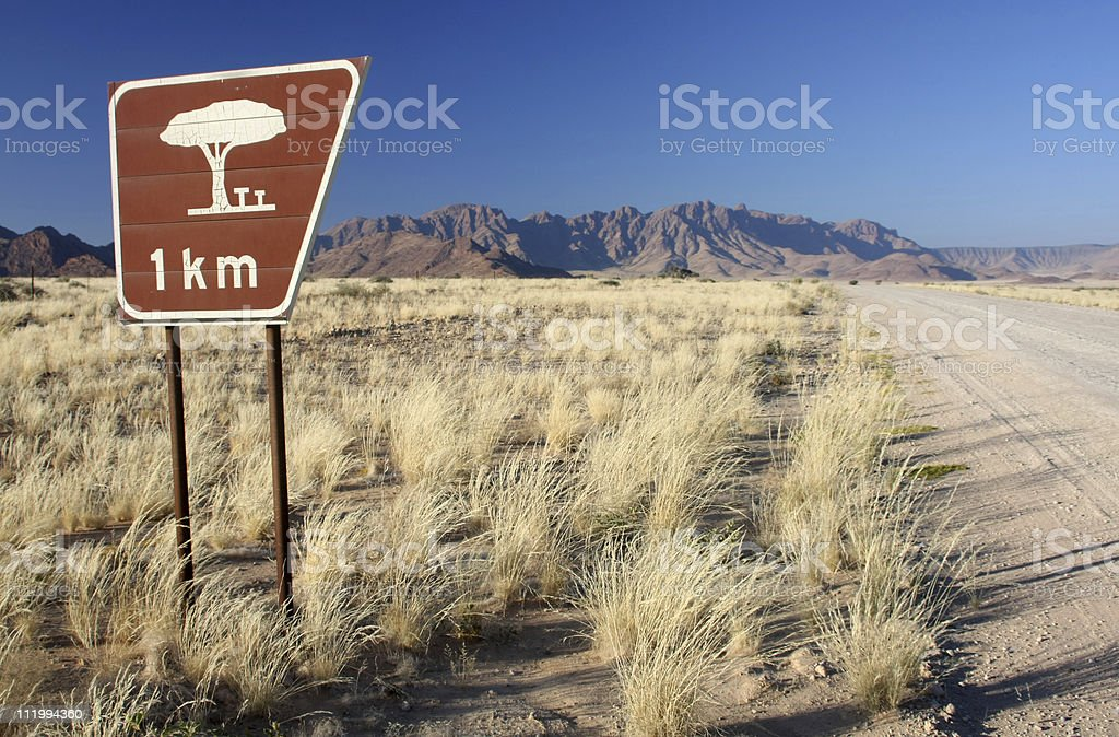 road sign in the namib desert royalty-free stock photo
