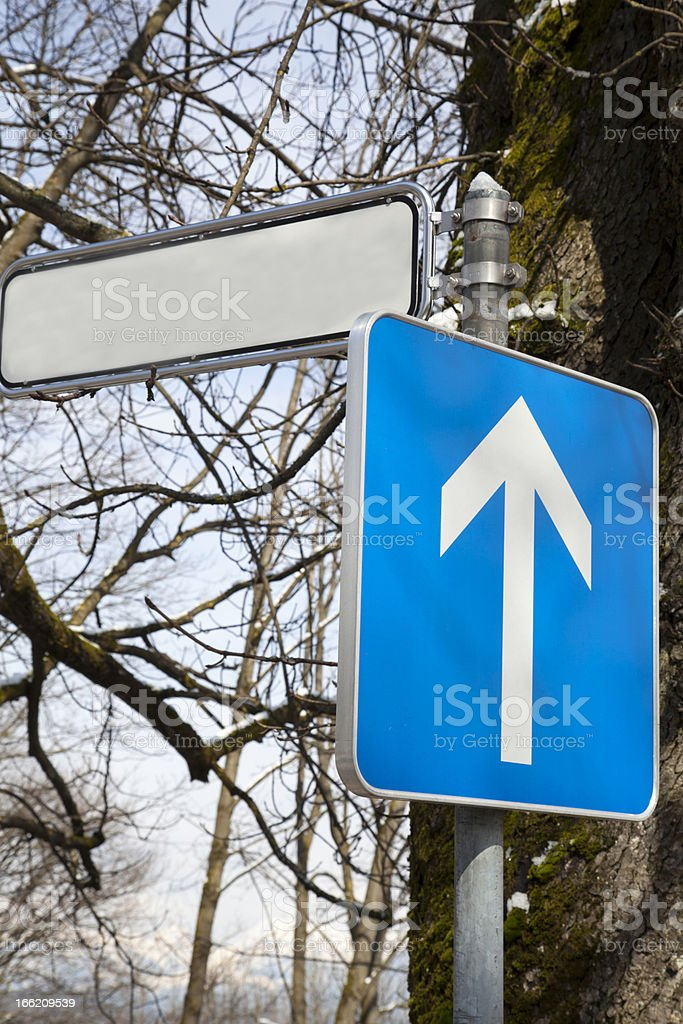 Road sign indicating The Only Way royalty-free stock photo