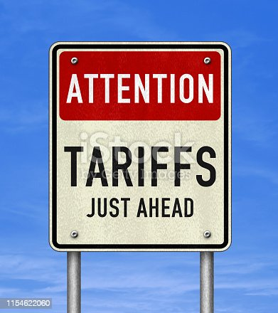 Road sign message - Tariffs just ahead