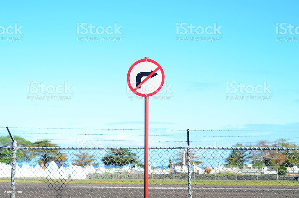 road sign; no right turn stock photo