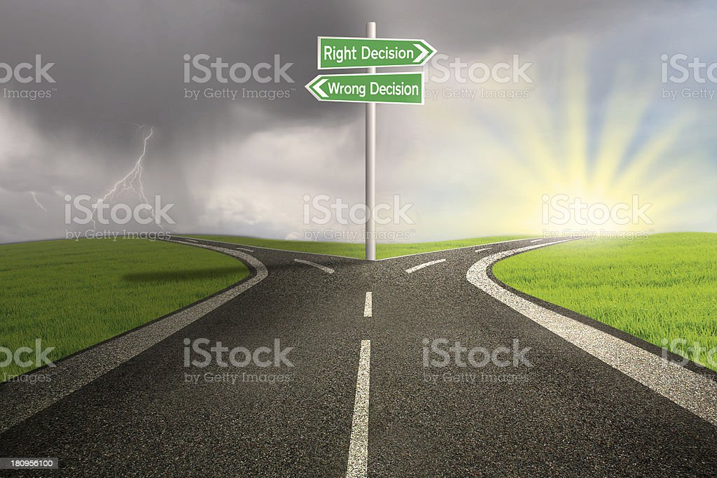 Road sign of right vs wrong decision stock photo