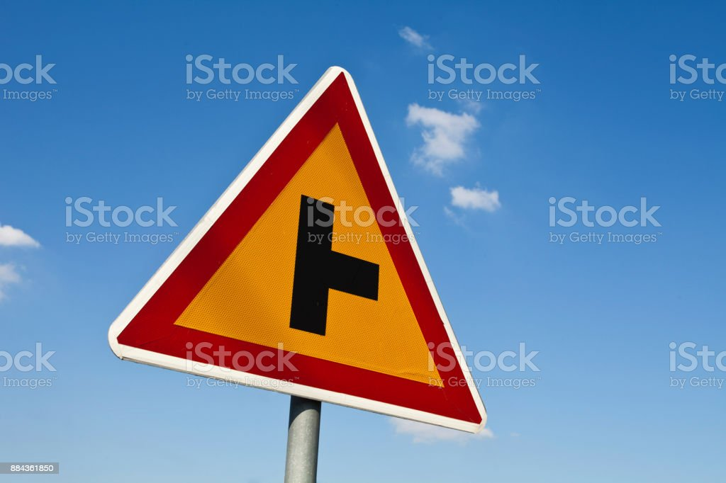 Road sign on a sky stock photo