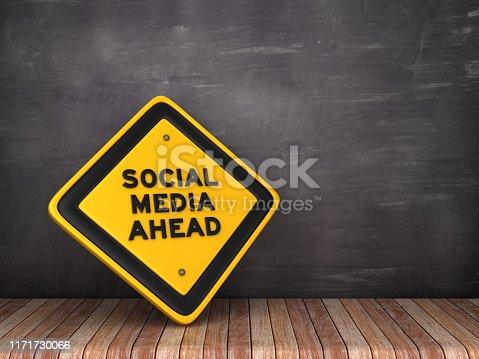 SOCIAL MEDIA AHEAD Road Sign on Chalkboard Background - 3D Rendering