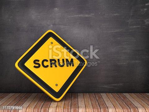 SCRUM Road Sign on Chalkboard Background - 3D Rendering