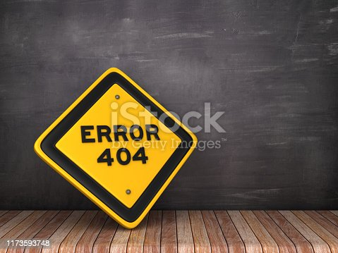 1172996896 istock photo ERROR 404 Road Sign on Chalkboard Background - 3D Rendering 1173593748