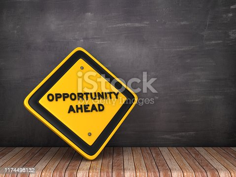 istock OPPORTUNITY AHEAD Road Sign on Chalkboard Background - 3D Rendering 1174498132