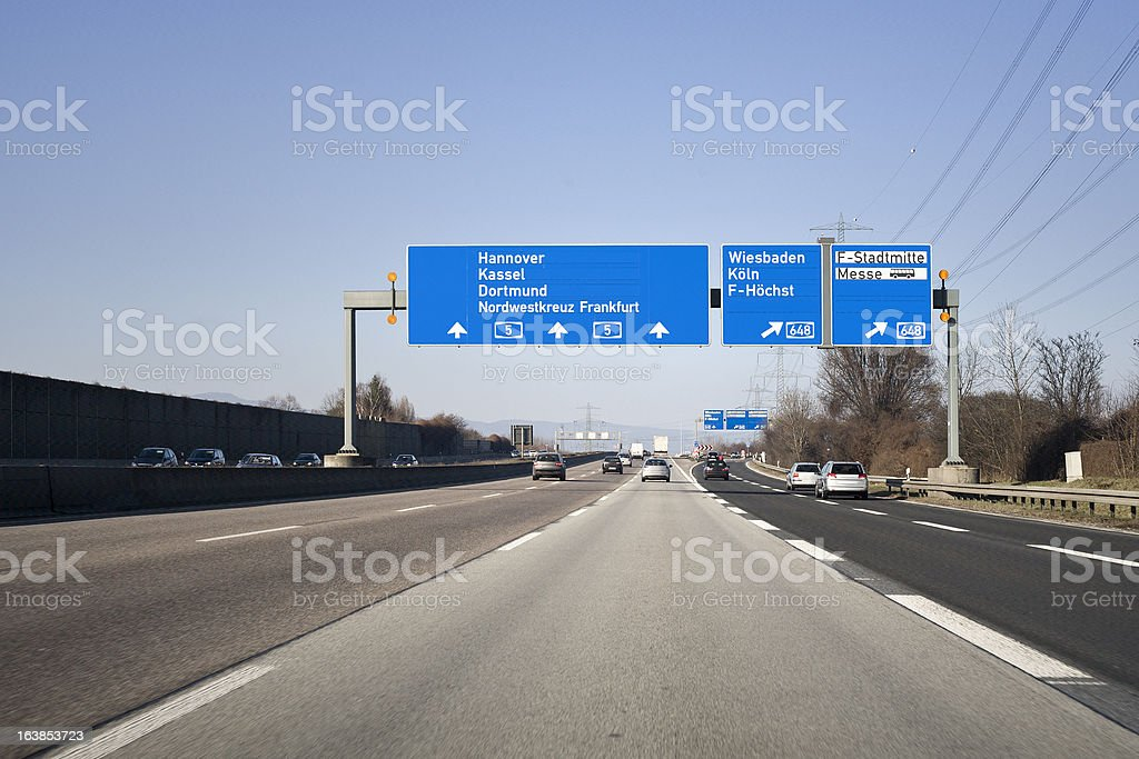 Road sign on german autobahn A5 - traffic information system royalty-free stock photo