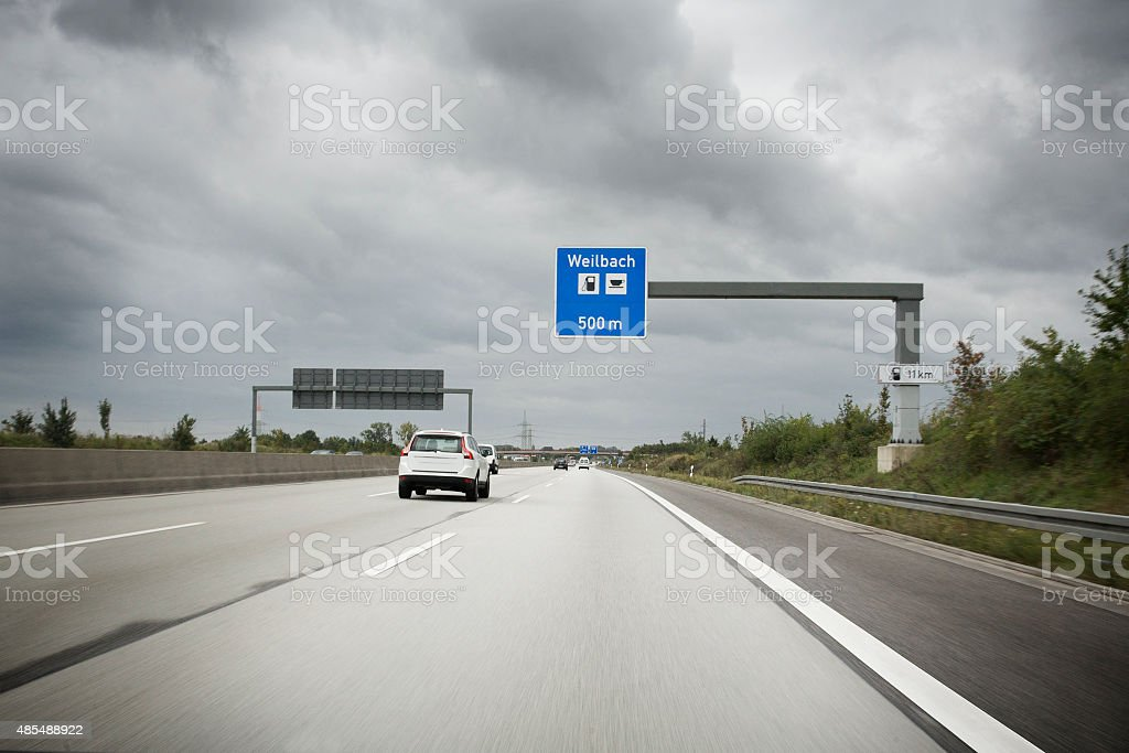 Road sign on german autobahn A66 stock photo