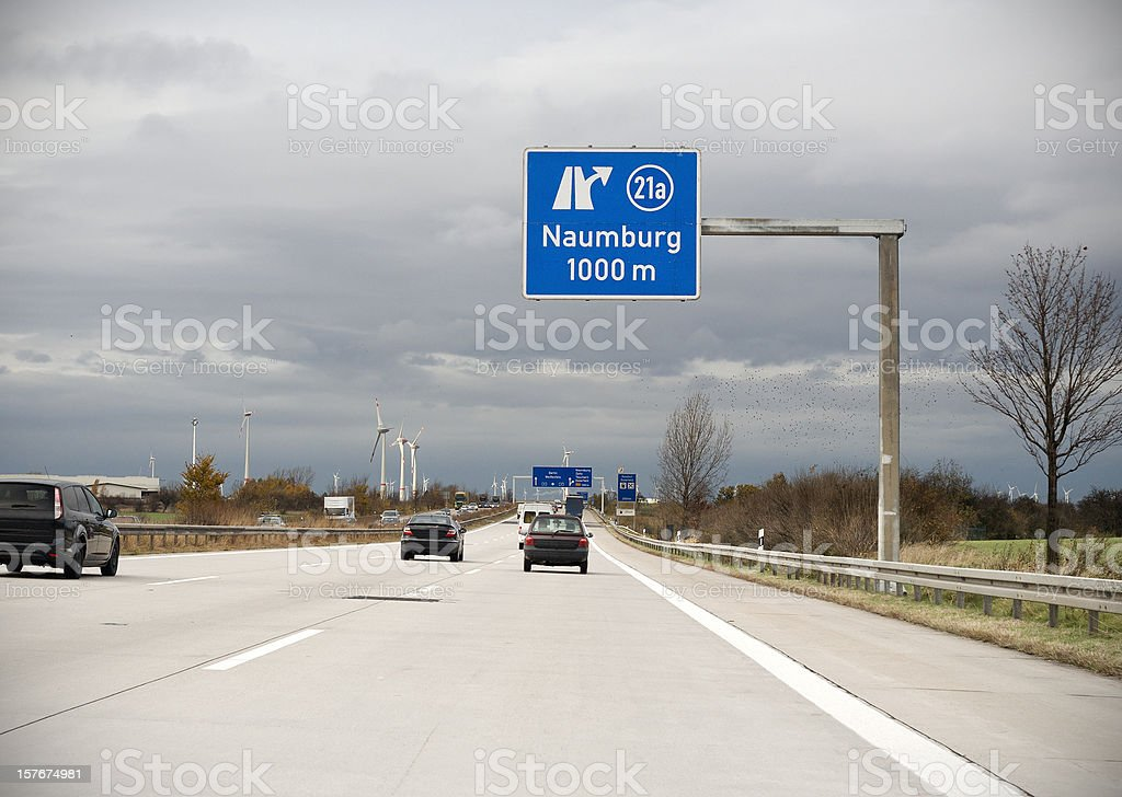 Road sign on german autobahn - next exit Naumburg stock photo