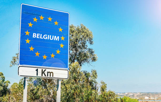 Road sign on the border of Belgium as part of the European Union stock photo