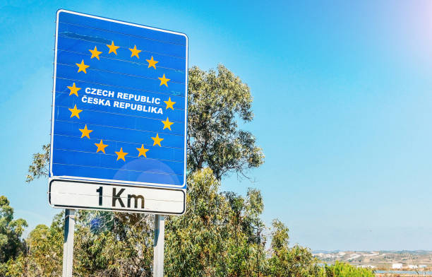 Road sign on the border of Czech Republic as part of an European Union member state stock photo