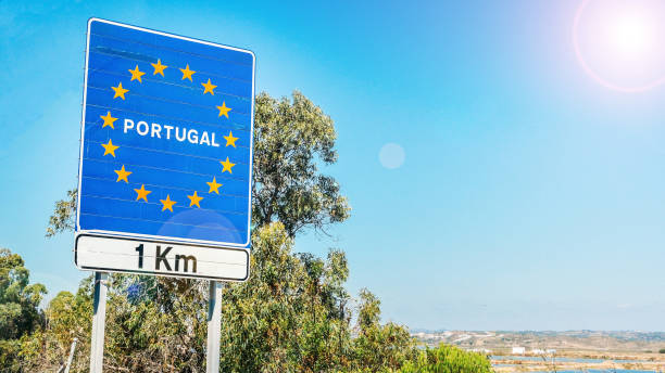 Road sign on the border of Portugal stock photo