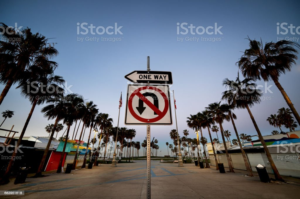 Road sign on Venice Beach stock photo
